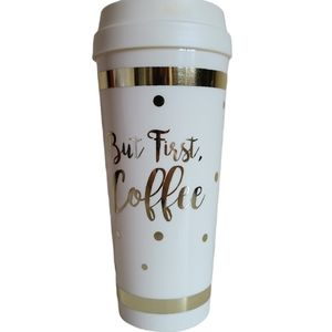 laura ashley tumbler but first coffee gold white